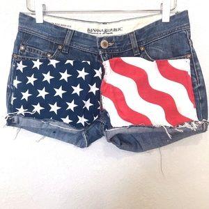 Banana republic American flag cut off denim shorts